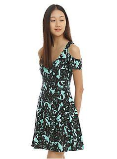 "<p>While you're walking around on those what do you call 'em? Oh, feet. Yeah, while you're walking around on those feet wear this black dress inspired by <i>The Little Mermaid</i>. It's got a mint Ariel, Sebastian, Flounder, shell and bubbles silhouette print and a cold shoulder cut.</p>  <ul> <li>32"" long from shoulder</li> <li>95% polyester; 5% spandex</li> <li>Wash warm; hang dry</li> <li>Made in USA</li> </ul>"