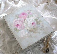 Hand Painted Romantic Roses Keepsake Box by Debi Coules  www.debicoules.com        Original by Debi Coules