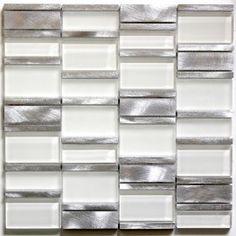 dalle mosaique aluminium et verre carrelage cuisine crédence ceti blanc