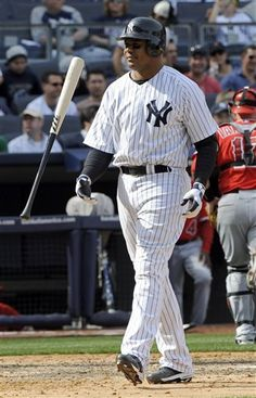 Game 8: Saturday, April 14, 2012 - New York Yankees' Andruw Jones flips his bat after striking out to end the eighth inning of a baseball game against the Los Angeles Angels at Yankee Stadium in New York. The Angels won 7-1. (AP Photo/Bill Kostroun)