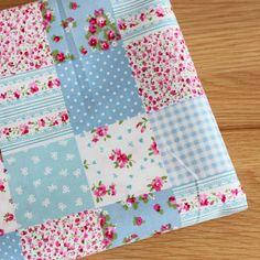 Patchwork rose tissu Chic minable bleu tissu par ChaChaFabricMade