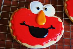 Sesame Street: ELMO -  3 inch Decorated Sugar Cookies Platter Sized - 1 doz. cookies. $27.00, via Etsy.