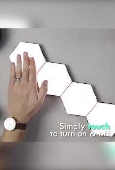 Thanks to its hexagonal shape, you can create many different structures, depending on the number of tiles you use.  Just touch the tile to turn the light on and off. On top of this, you can customize lighting levels to achieve the right mood by illuminating just the tiles that you need. Similarly, you can simply swipe the entire surface of the wall to illuminate everywhere you touch. My New Room, My Room, Diy Wall Decor, Bedroom Decor, Home Decor, Home Room Design, House Design, Design Kitchen, House Rooms