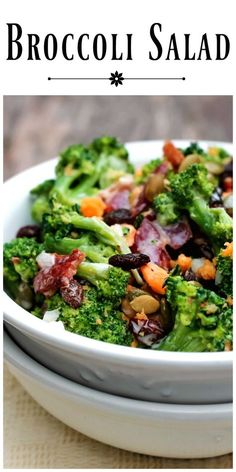 This Broccoli Salad is loaded with flavor and textures. The addition of pepitas and raisins add a little crunch and a soft chew to this delicious salad. via @https://www.pinterest.com/BunnysWarmOven/bunnys-warm-oven/