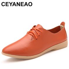 39384aa26166 CEYANEAO Women s Shoes Soft Genuine Leather Flats Fashion Casual Woman  Driving Loafers Moccasins Shoes Large Size