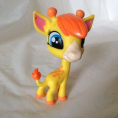 LPS #139 Giraffe Yellow and Orange w/ Blue eyes 2 dot Littlest Pet Shop #Hasbro