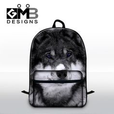 760b94beb3dc Cool Wolf Pattern School Bookbags for elementary students