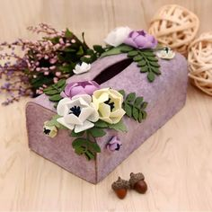 Quality New Arrived Napkin Papers Case Handmade Felt Box Purple Color Flower Style Paper Towel Boxes Felt DIY Package with free worldwide shipping on AliExpress Mobile Felt Diy, Handmade Felt, Felt Crafts, Tissue Box Covers, Tissue Boxes, Purple Colour Flowers, Paper Suppliers, Paper Case, Creative Thinking