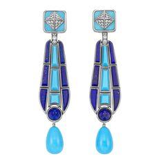 Pair of White Gold, Turquoise, Lapis and Diamond Pendant-Earclips, Fred Leighton