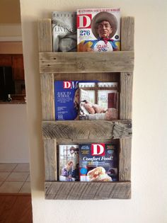 Reclaimed Wood Wine Racks and Shelves Rustic Magazine Racks, Wood Magazine, Reclaimed Wood Shelves, Reclaimed Wood Furniture, Wood Shelf, Repurposed Wood, Wall Shelves, Wooden Crafts, Wooden Diy