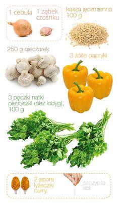 kasza_jeczmienna_z_pieczarkami_skladniki_male Vegan, Diabetes, Recipies, Curry, Lunch Box, Stuffed Peppers, Vegetables, Food, Diet