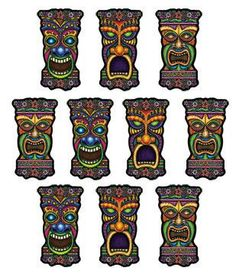 """With three different tiki head designs, these mini cutouts are sure to bring the island feel wherever they go! Each pack contains 10, 5"""" cutouts that look great at luaus, pool parties, birthdays, and"""
