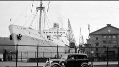 Oslo NAL-piren på Vippetangen 1938 M/S Oslofjord ved kai. Utg Mittet foto Neupert