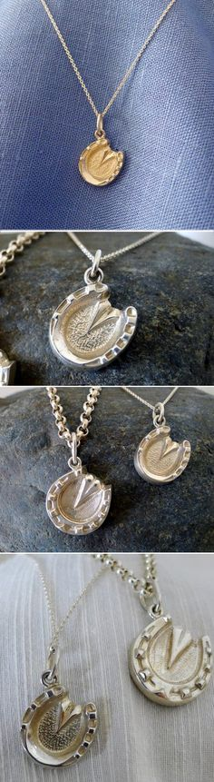 Small horse hoof pendant! Engrave on the back to personalize.    Click here for info:  http://www.equestrianjewelry.com/sterling-silver-detailed-horse-hoof-pendant-on-sterling-chain/