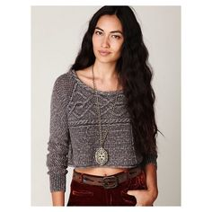 Coolness cable crop sweater by Free People Cable knit sweater top by Free People! Great condition! Free People Tops