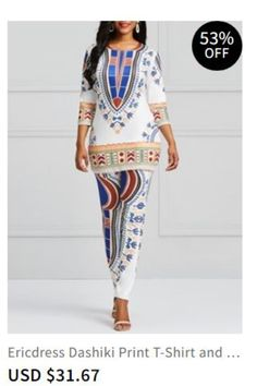 8a5c0ba39d Ericdress Dashiki Print T-Shirt and Pants Women s Two Piece Set