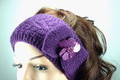 Deep Purple Wool Knitted Headband with Bead Flower