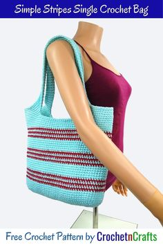 Free pattern for a simple stripes single crochet bag. The pattern is beginner friendly, and can be worked up with as many colors as you like.  #crochet #bag #tote #freecrochetpattern #crochettote #crochetncrafts Free Crochet Bag, Crochet Purse Patterns, Crochet Tote, Crochet Purses, Crochet Hooks, Bag Pattern Free, Cloth Bags, Single Crochet, Stripes