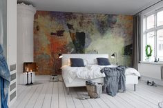 Art on the wall. Colors and shapes without symbolism, just beautiful surfaces together.