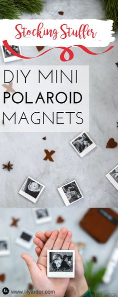 10 DIY Gifts Perfect for Stocking stuffers and special occasioans These mini Polaroid magnets are ssso cute and super easy to make! The post 10 DIY Gifts Perfect for Stocking stuffers and special occasioans appeared first on Cadeau ideeën. Diy Gifts Cute, Cute Couple Gifts, Couple Presents, Christmas Pictures, Christmas Diy, Christmas Goodies, Mini Polaroid, Fujifilm Polaroid, Picture Magnets