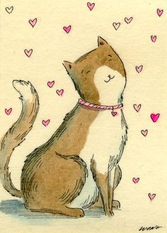 """Wong ACEO Original Painting """"Loving thoughts"""" CAT pets sweet hearts kitten happy   eBay"""