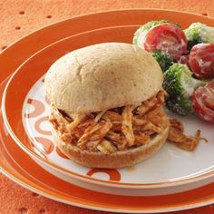 Barbecued Turkey Sandwiches Turkey Recipes, Turkey Dishes, Meat Recipes, Dinner Recipes, Cooking Recipes, Healthy Recipes, Sandwich Recipes, Healthy Meals, Turkey Sandwiches