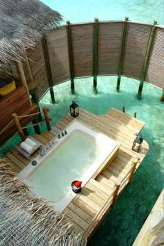 """Want to go: The Maldives seem to have the coolest hotel/villa features. """"Outdoor Private Bath - Soneva Gili By Six Senses - North Male Atoll, Maldives"""" Vacation Destinations, Dream Vacations, Vacation Spots, Places To Travel, Places To See, Gili Lankanfushi, Tahiti, Bora Bora, Swimming Pools"""
