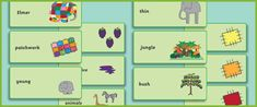 Elmer the Elephant Flashcards (for vocabulary and syllables)