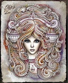 LIBRA Zodiac doodles illustration