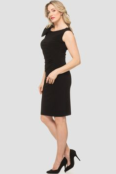 Joseph Ribkoff's bateau neckline cocktail dress has a bow accent on one shoulder with jewel and goldtone accents in addition to ruching through the midsection as well as knee-length hem and full back. Joseph Ribkoff Dresses, Bateau Neckline, Sequin Dress, Sequins, Dresses For Work, Black, Style, Fashion, Swag
