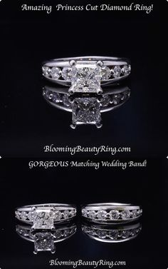 A stunning Princess Cut Diamond Engagement Ring with a matching wedding band and a massive 2 carat Princess cut center diamond.    Add massive Round Brilliant Cut Diamonds and you have an engagement ring fit for a queen!