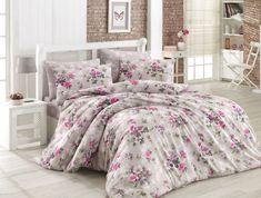Lenjerie de pat Ranforce Dore V3 #homedecor #inspiration #interiordesign #homedesign #flowers #bedroom Grey And White, Pink And Green, Quilt Cover Sets, Interiores Design, Lilac, Comforters, Duvet Covers, King, Blanket