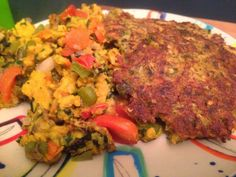 Chickpea Vegetable Scramble and Potato Pancakes #vegan #veganrecipes #chickpeaflour