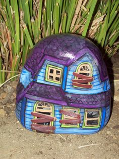 Blue and Purple Painted River Rock Halloween Haunted House. $20,00, via Etsy.