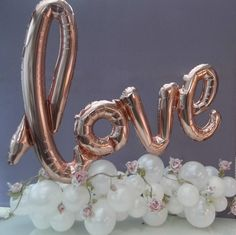 Rose Gold Organic style 'Love' Balloon Pretty Rose gold script balloon on organic balloon base & vintage rose garland.