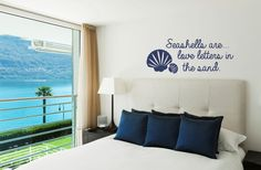 Beach Decal - Seashells are love letters in the sand Wall Decal - Wall Quotes - Lake House - Vinyl Lettering - Coastal Charm - Island Life Beach Wall Decals, Beach Wall Art, Wall Decal Sticker, King Beds, Queen Beds, California King Bedding, House Wall, Full Bed, Bathroom Wall Decor