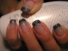 Black French manicure with glitter-- Pretty for New Years Eve! I have my nails with a black French manicure right now! Glitter looks awesome! Black Nails With Glitter, Glitter French Manicure, French Tip Nails, French Manicures, French Tips, Black Nail Tips, Silver Glitter, Black French Nails, French Tip With Glitter