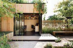 Incredible and cozy backyard studio shed design ideas Backyard Office, Outdoor Office, Cozy Backyard, Backyard Studio, Garden Studio, Garden Office, Outdoor Rooms, Home Office, Outdoor Gardens