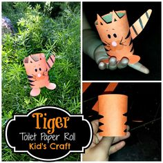 Find a list of toilet paper roll crafts for kids to make! You can find ideas on what to make out of toilet paper rolls. Diy Art Projects, Projects For Kids, Crafts For Kids To Make, Kids Crafts, Summer Crafts, Paper Towel Crafts, Tiger Crafts, Orange Paper, Toilet Paper Roll Crafts