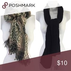 Lot of 2 Scarves Scarf Black Chunky Extra Long Lot of 2 Scarves  
