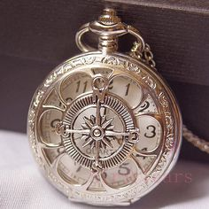 On sale-Steampunk Silver Hollow Six leaf Compass Pocket Watch Necklace Chain from AirTears on Etsy. Old Pocket Watches, Pocket Watch Antique, Steampunk Pocket Watch, Old Clocks, Antique Clocks, Vintage Clocks, Antique Watches, Vintage Watches, Pocket Watch Necklace