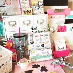 1creativebee: #workspacewednesday I don't think I've ever shared this side of my workspace. Maybe because It feels cluttered..?! My planner keeps me on task.