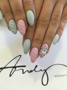 Beautiful Winter Sweater Nail Designs Ideas - Knitted nail art is perfect for winter and can easily carry you through all your holiday functions. Winter Nail Designs, Winter Nail Art, Christmas Nail Designs, Christmas Nail Art, Manicure Nail Designs, Nail Manicure, Nail Art Designs, Xmas Nails, Holiday Nails