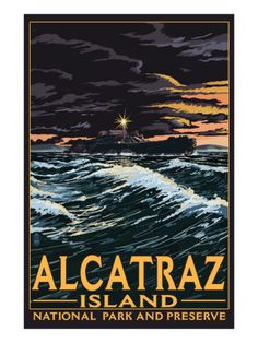 Vintage travel poster - USA - Alcatraz, San  Francisco