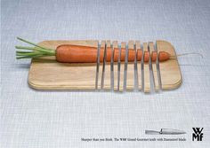 """creative print ads: WMF knives """"Cutting board"""" """"Sharper than you think. The WMF Grand Gourmet knife with Damasteel blade."""""""