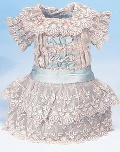 AQUA SILK AND LACE FRENCH COUTURIER BEBE DRESS