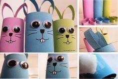 Des activités pour les enfants avec de la récup, ici des rouleaux en carton de papier toilette pour fabriquer des tas d