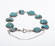 Zuni Inlay Link Bracelet - 50s/60 Natural Turquoise Flowers - Sterling Channel Flush Inlay