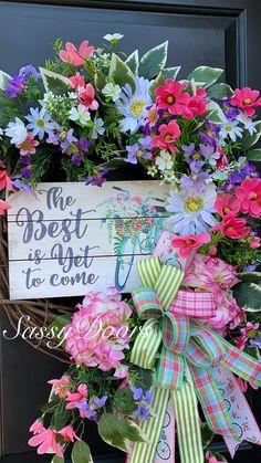 Custom And Unique Door Wreaths Summer Door Wreaths, Spring Wreaths, Unique Doors, Wreath Crafts, Sassy, Floral Wreath, Gift Wrapping, Easter, Outdoors