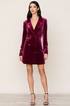 "The classic velvet tuxedo gets a feminine update with our Suit It Up Burgundy Velvet Dress. Details include double-breasted collar and velvet-covered buttons on placket. Long sleeves. Lined."" Price $: 238.0 #CocktailDresses #YumiKim"
